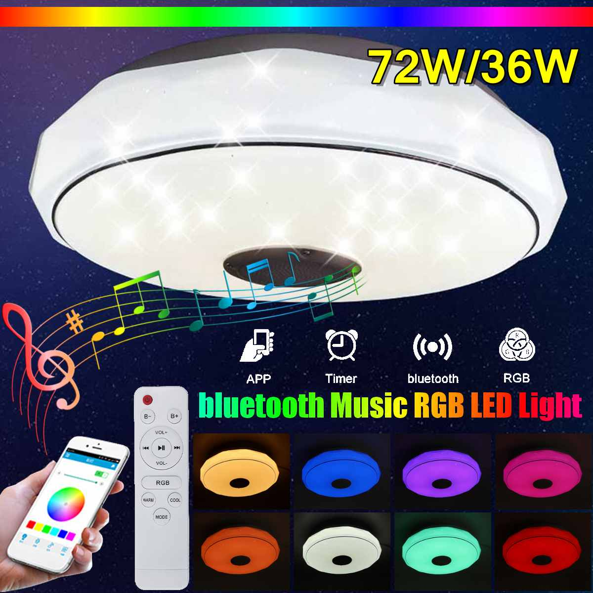 40 Bluetooth RGB Led plafonjera 2x36W M205502-BT/WRGB